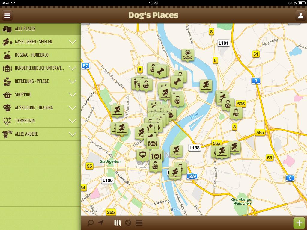 Screenshot Dog's Places App - www.dogsplaces.de