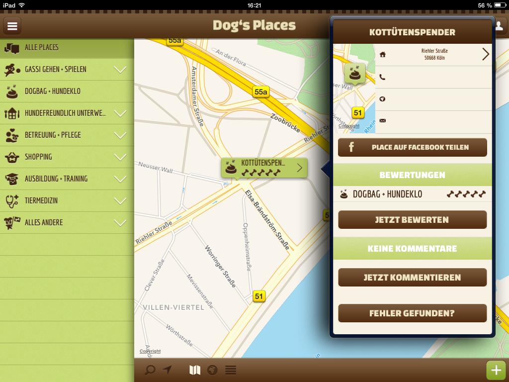 Screenshot Detailinformationen App Dog's Places - www.dogsplaces.de