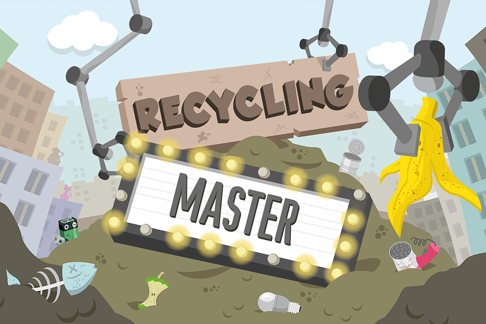 "Titelbild der App ""Recycling Master"" auf dem iPhone (c) lightcycle.de"