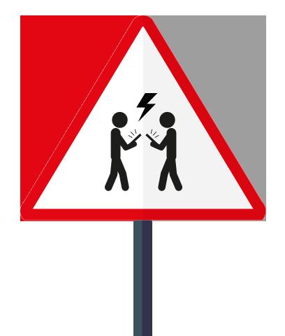 Warnschild vor Smartphonenutzern in der Stadt (c) resorti.de