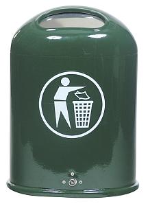 Abfallbehälter zur Wand- oder Pfostenbefestigung mit Federklappe - Krähen verschmutzen Parks - vogelsichere Mülleimer als Lösung