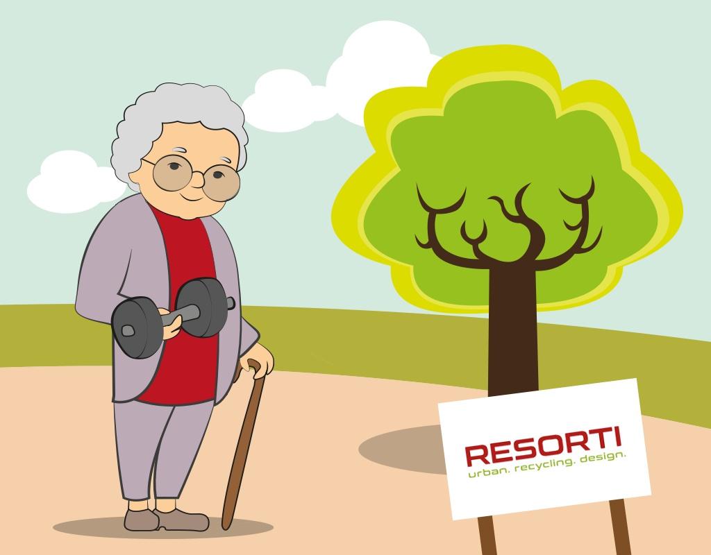 Bild von Oma mit Hantel - Bewegung im Alter RESORTI Blog