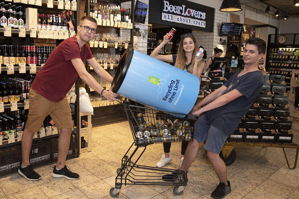 Jede Dose zählt Abfallbehälter bei BeerLovers in Wien