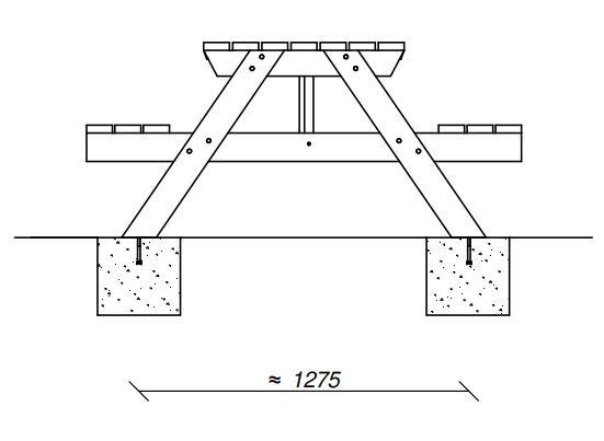 Sitzgruppe-Lax-Bodenbefestigung