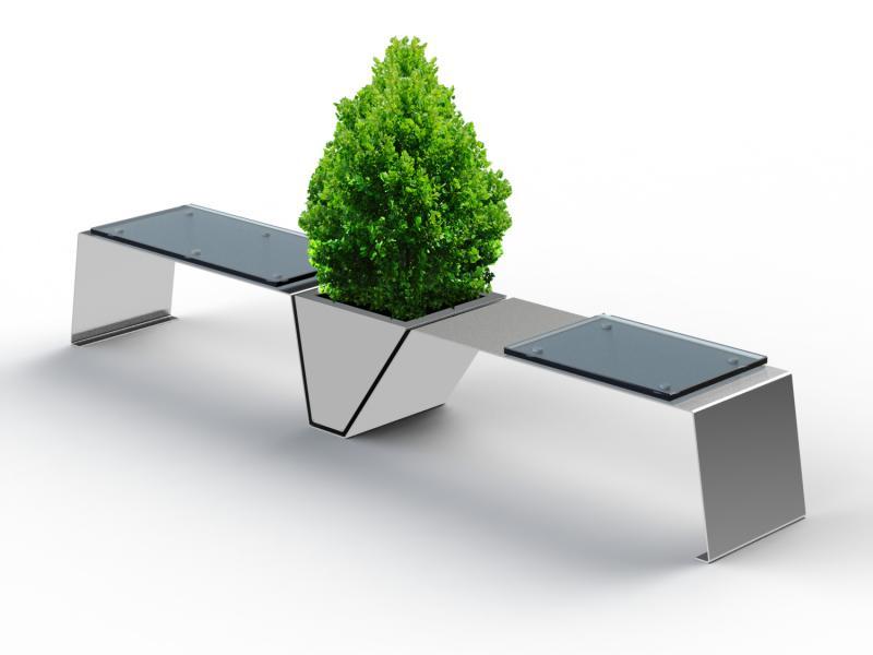 Sitzbank Line Glassitzfläche und Blumenkübel Edelstahl
