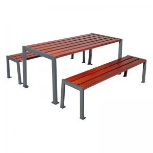 Vorschau: Parktisch mit Sitzbänken Silaos Resorti grau Mahagoni Färbung