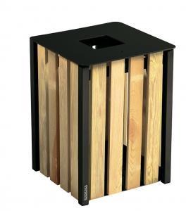 Vorschau: Abfallbehälter Holz Eckig Mangangrau