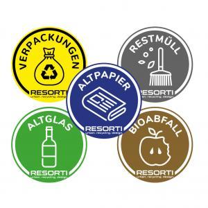Vorschau: Aufkleber farbig für Mülltrennung (Papier, Glas, Rest- und Biomüll, Verpackungen)
